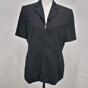 AMANDA SMITH  Black Zipper Jacket Blazer Work  12